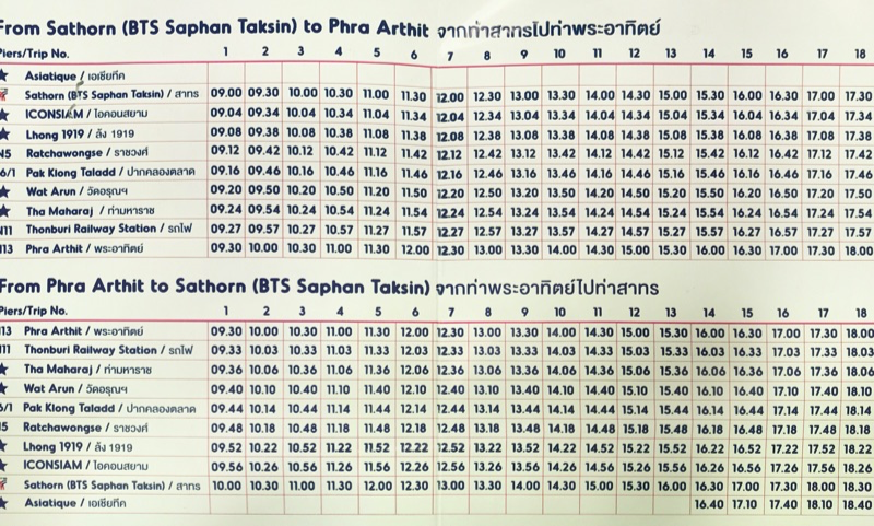 チャオプラヤーツーリストボートの時刻表