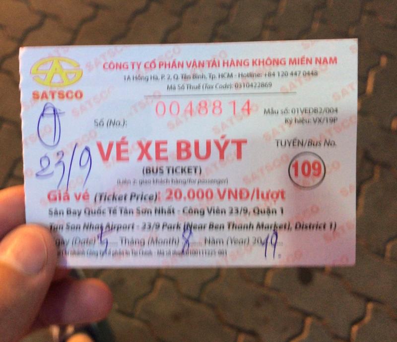 109番バスのチケット