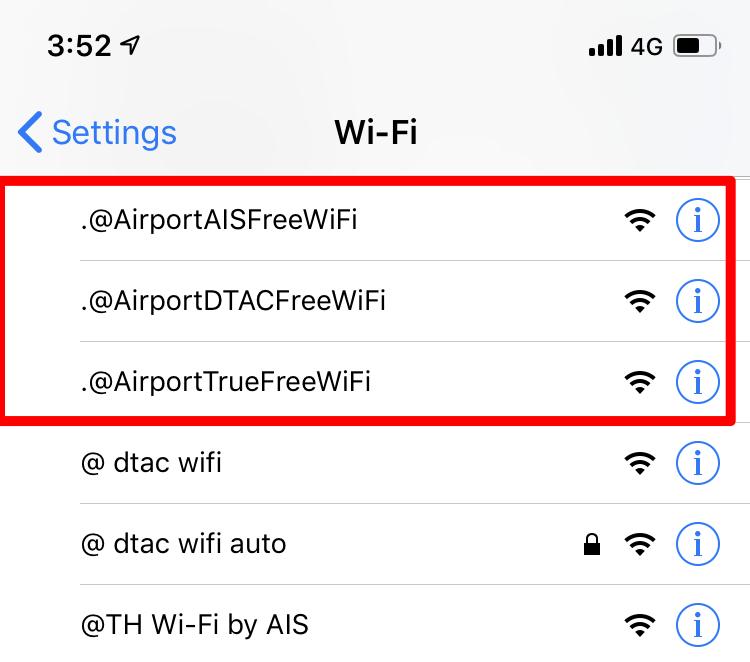 スワンナプーム国際空港無料Wifi
