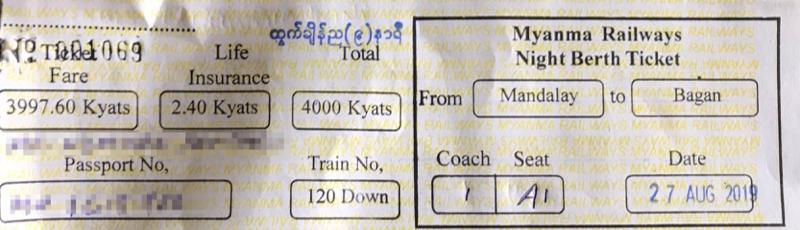 ミャンマー国鉄 チケット
