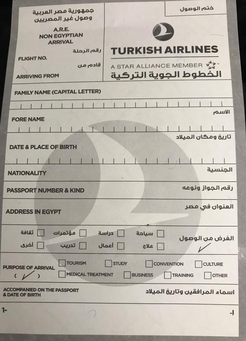 エジプト 入国カード