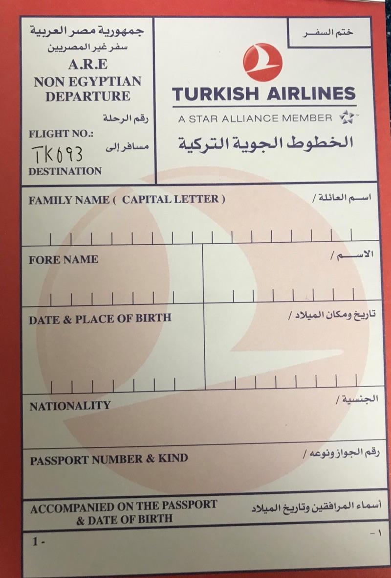 エジプト 出国カード