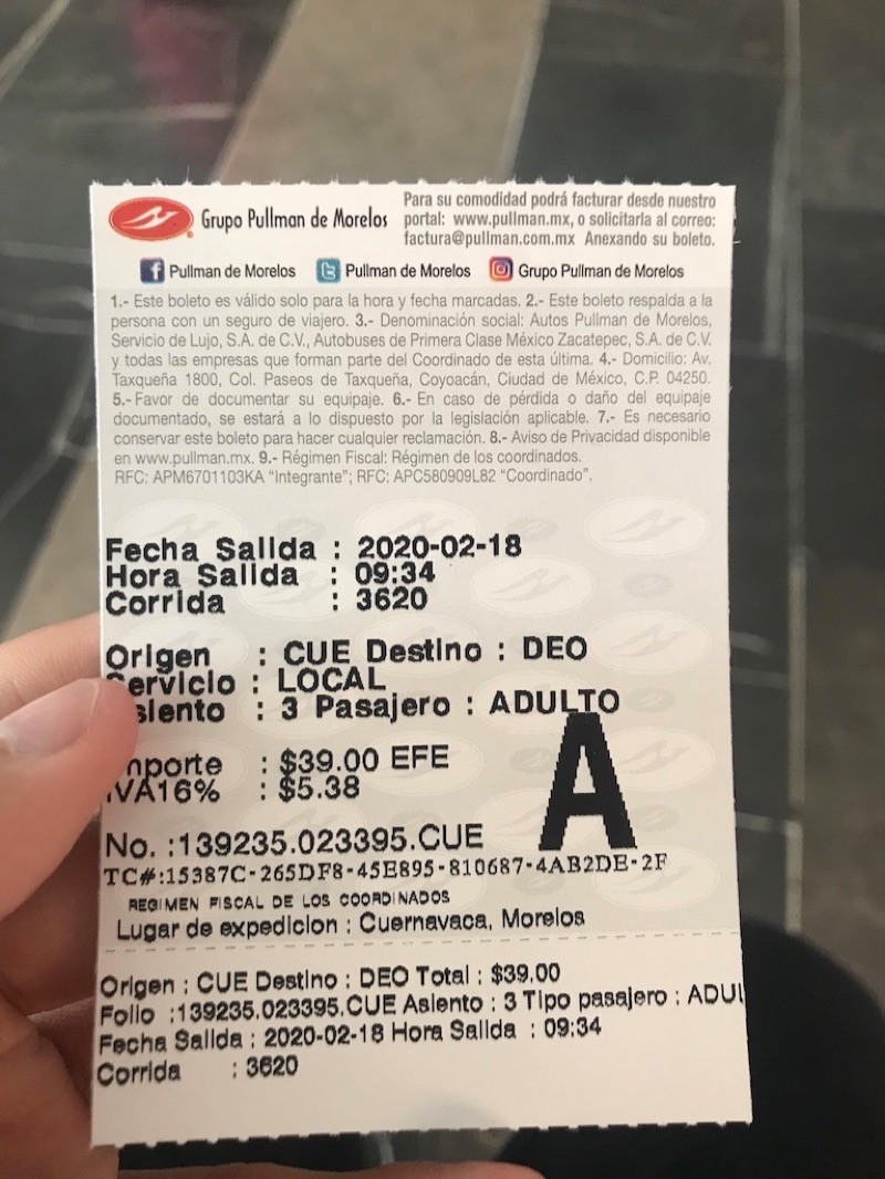 クエルナバカバスターミナル チケット
